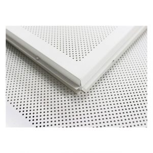 USG Boral Postcoated GI Metal Ceiling Lay in Perforated (1.5mm DIA)  600mm x 600mm x 0.5mm White (T 15) Bevel Edge